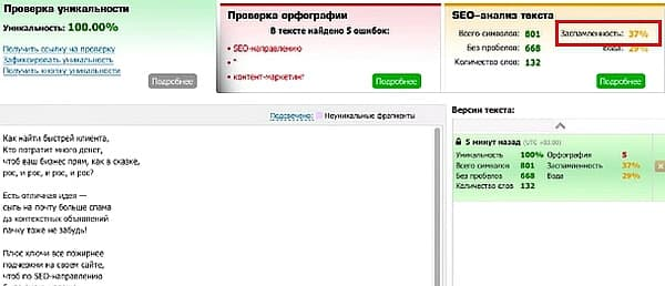 Заспамленность текста по Текст.ру