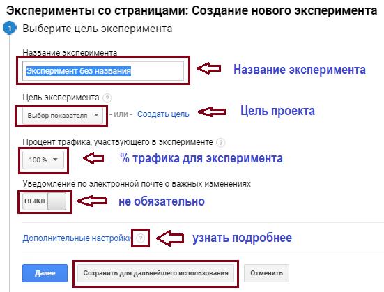 Google Analytics, эксперимент