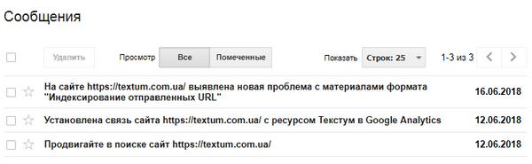 Сообщения в Гугл Вебмастер