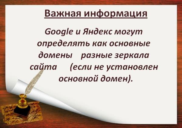 Определение основного домена Google и Yandex