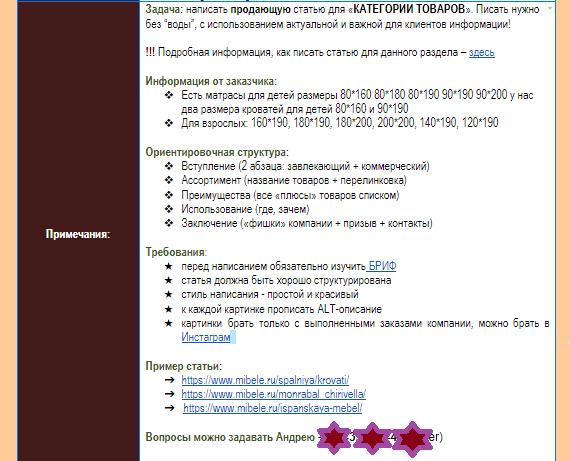 ТЗ для копирайтера: план