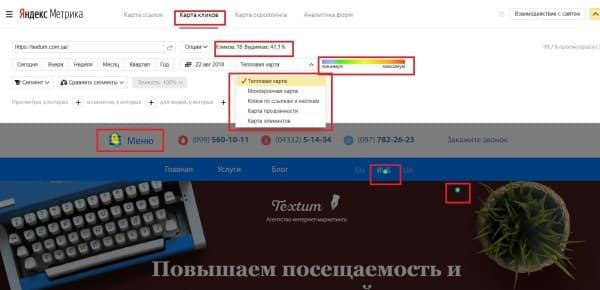 Карта кликов в Яндекс. Метрике
