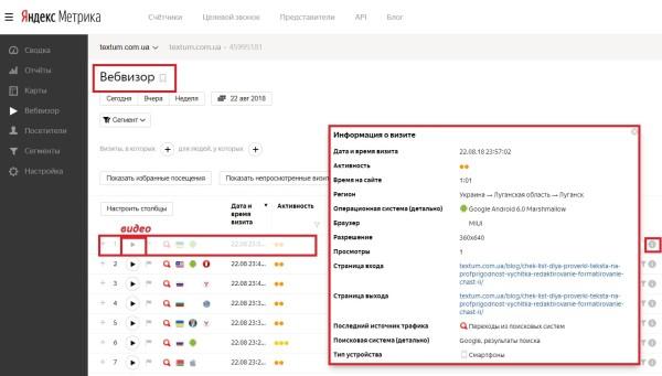 Информация про посетителей сайта в Вебвизоре Яндекс. Метрика