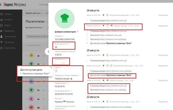 Посетители в Яндекс. Метрике