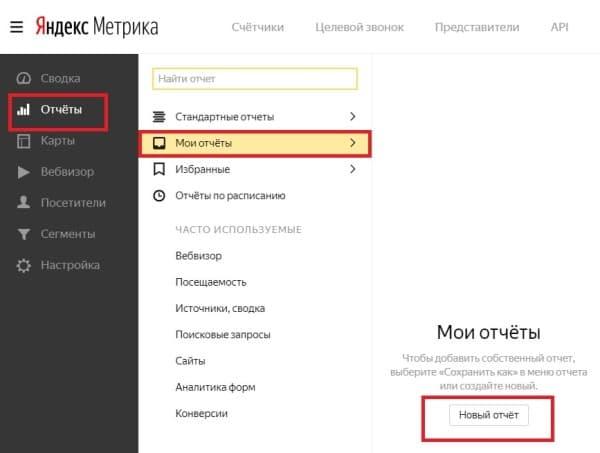 Создание нового отчета в Яндекс. Метрике