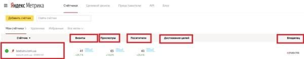 Информация по счетчику Textum в Яндекс. Метрике