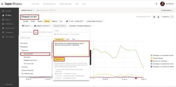 Выбор адреса для анализируемой страницы  в Яндекс. Метрике