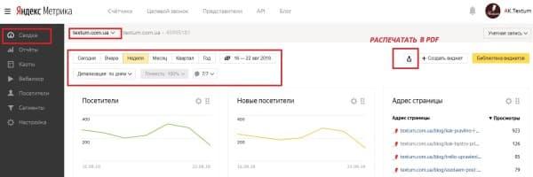 Раздел «Сводка» в Яндекс. Метрике