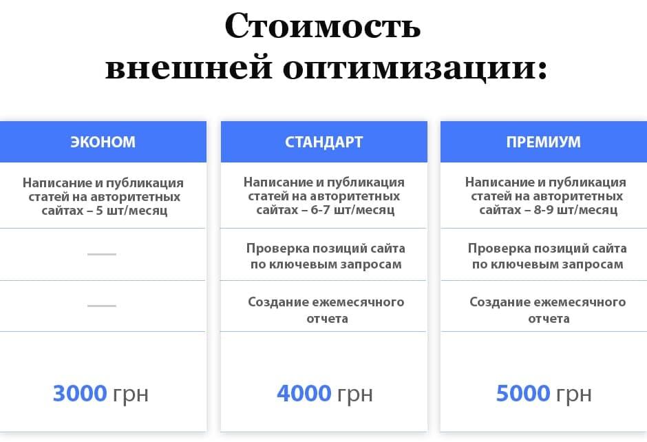 Стоимость внешней оптимизации от Текстум