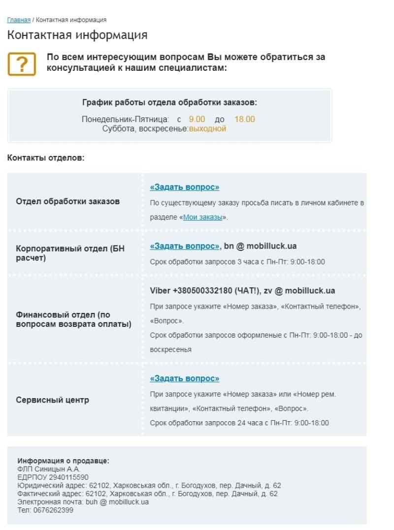 Страница контактов на Mobilluck.com.ua