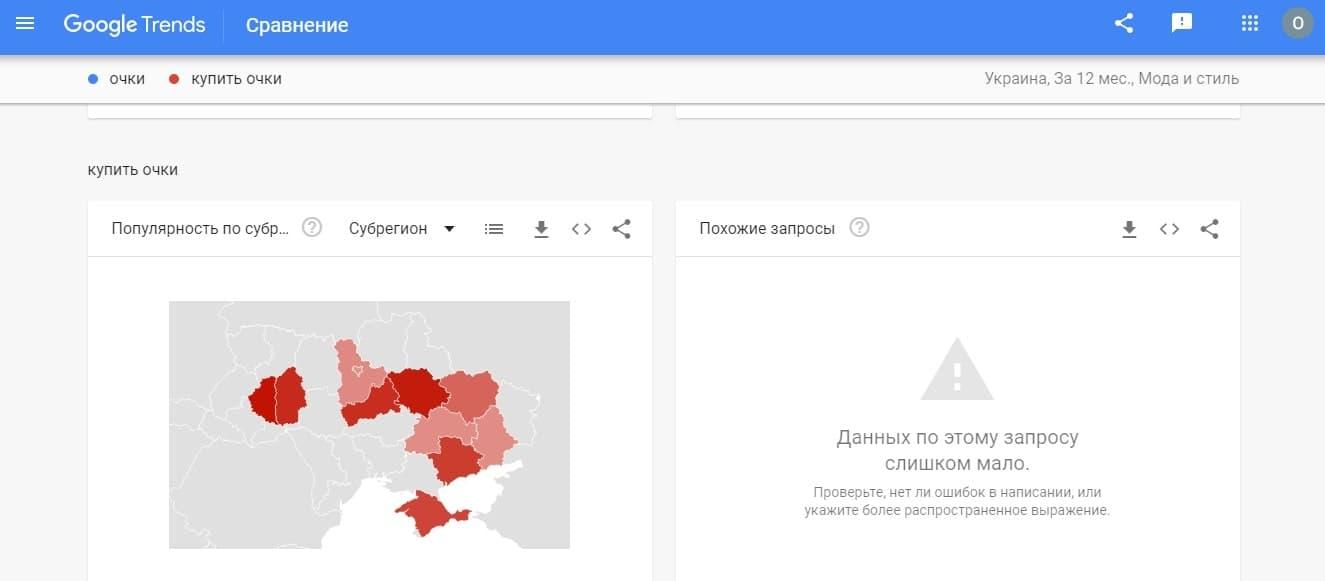 Географическая статистика трендовости запроса «купить очки» в онлайн-сервисе Google Trends