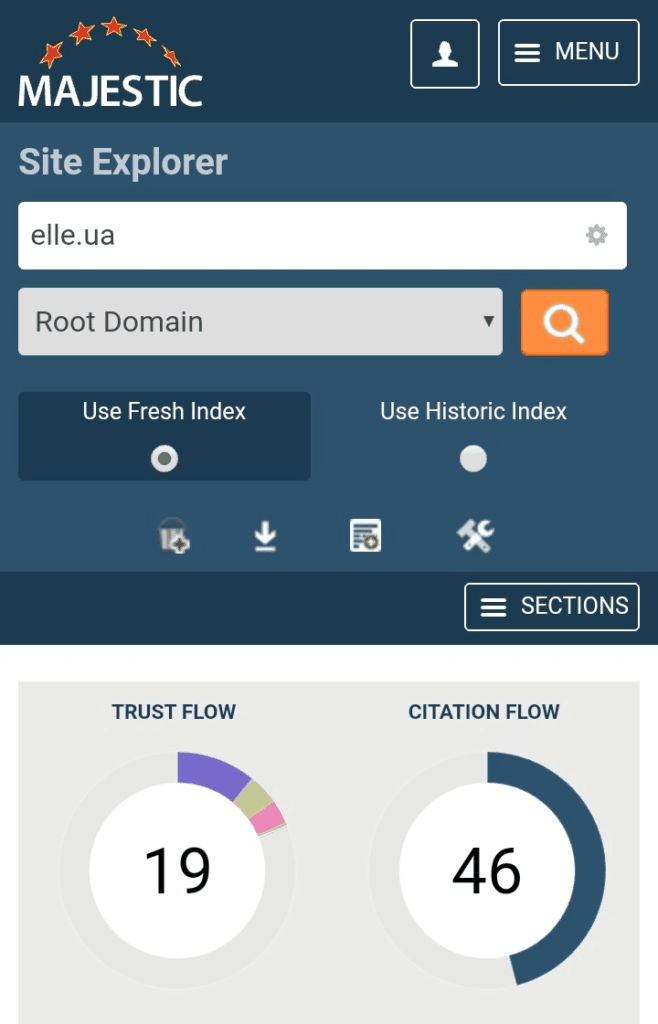 Majestic выдаёт показатели Trust Flow