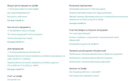Раздел FAQ на Shafa.ua