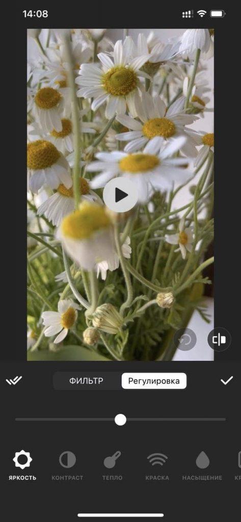 Применение эффектов, наложение фильтров в InShot